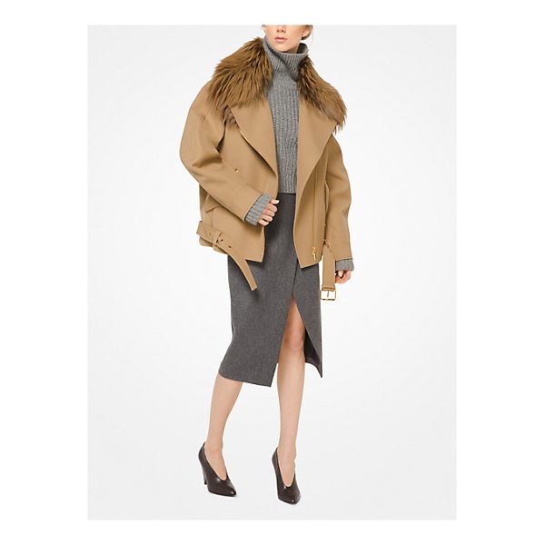 MICHAEL KORS COLLECTION Bonded Wool Jacket With Fox Collar - In Bonded Wool With A Genuine Fur Collar The Moto Jacket Is...