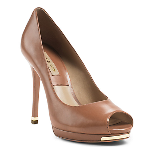 MICHAEL KORS COLLECTION Brenda peep-toe leather pump - Kick up the glam factor with our Brenda pumps-a luxe shoe...