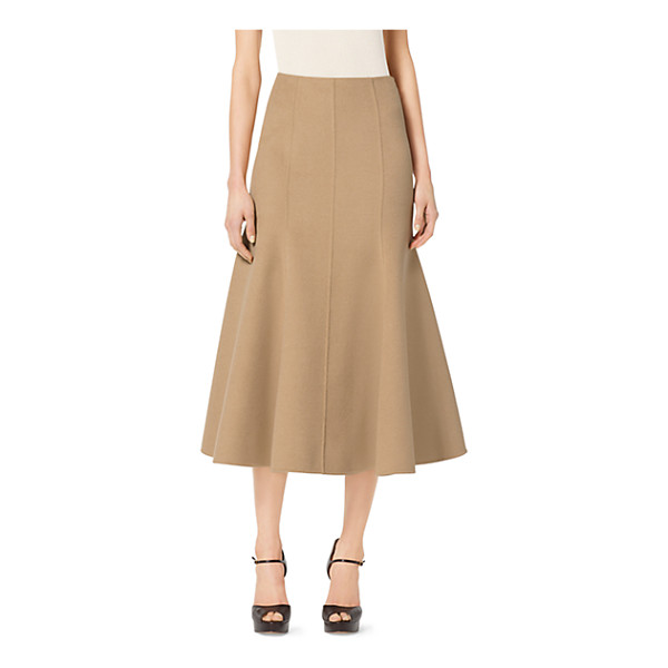 MICHAEL KORS COLLECTION Cashgora melton flared midi skirt - This long lean skirt is the epitome of quiet luxury....