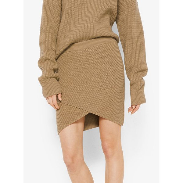 MICHAEL KORS COLLECTION Cashmere Ribbed Surplice Skirt - Designed In Softly Ribbed Cashmere This Mini Skirt Features...