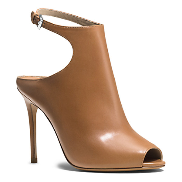 MICHAEL KORS COLLECTION Cece Peep-Toe Leather Pump - Marrying Design Elements Of An Ankle Boot And A Mule The...