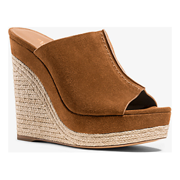 MICHAEL KORS COLLECTION Charlize Suede Wedge - Rich Chocolate Suede Mixes With Natural Jute Trim To Create...