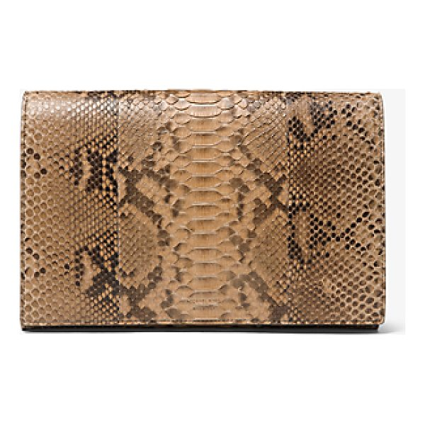 MICHAEL KORS COLLECTION Chrissy Slashed Python Clutch - Genuine Python And Dramatic Slashes Deliver Tactile Edge To...