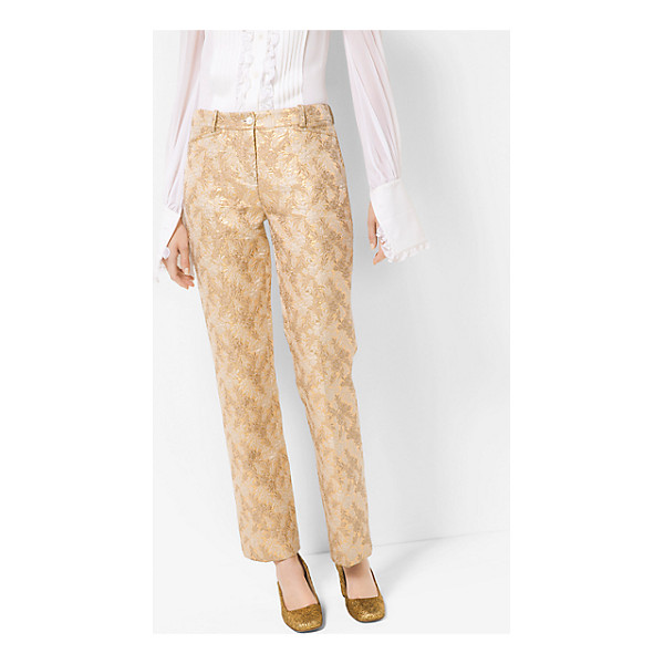 MICHAEL KORS COLLECTION Floral Metallic Jacquard Trousers - Glamorous Metallic Floral Jacquard Details Instill These...