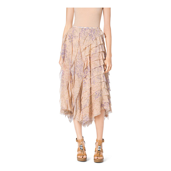 MICHAEL KORS COLLECTION Floral-Print Ruffle Silk-Chiffon Skirt - A Garden-Party Print And Rows Of Ruffles Unite On This...