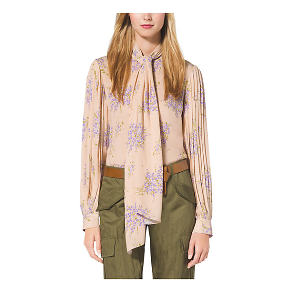 MICHAEL KORS COLLECTION Floral-Print Silk-Georgette Blouse - Pleat Detailing At The Sleeves And A Dramatic Tie-Neck...