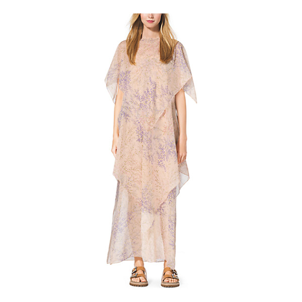 MICHAEL KORS COLLECTION Floral-Print Tiered Silk-Chiffon Caftan - Go With The Flow. A Soft Floral Print And Diaphanous Tiers...