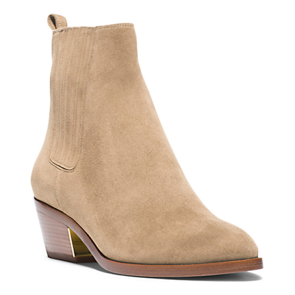MICHAEL KORS COLLECTION Patrice suede ankle boot - I love the look of balancing softer romantic pieces with a...