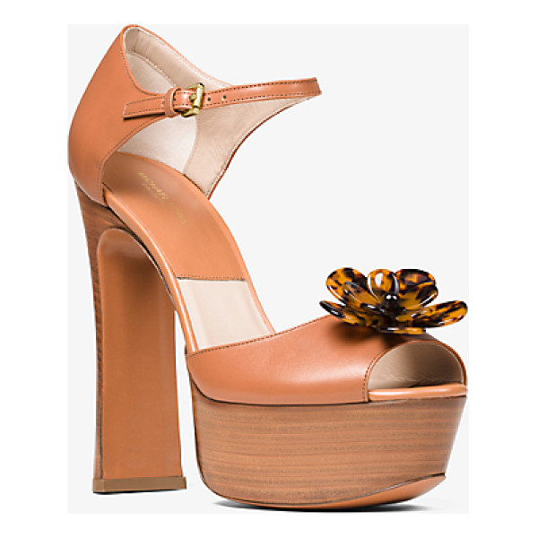MICHAEL KORS COLLECTION Pembrey Floral Leather Platform Sandal - Richly Detailed With A Tortoise Acetate Flower Our Pembrey...