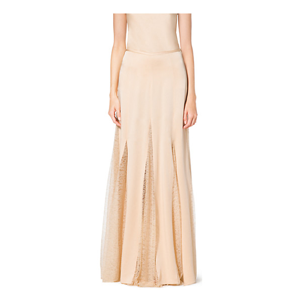 MICHAEL KORS COLLECTION Satin Charmeuse And Chantilly Lace Maxi Skirt - Take A Soft Approach To Style In This Diaphanous Design....