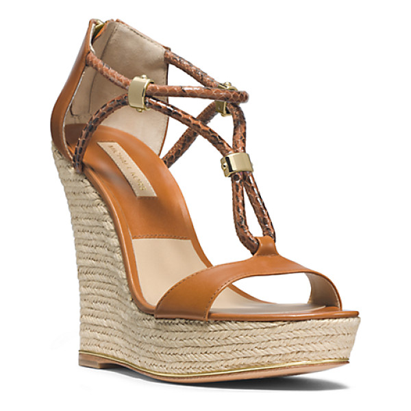MICHAEL KORS COLLECTION Sherie Braided Leather Espadrille Wedge - Say Hello To Sherie A Stylish Study In Contrast. The...