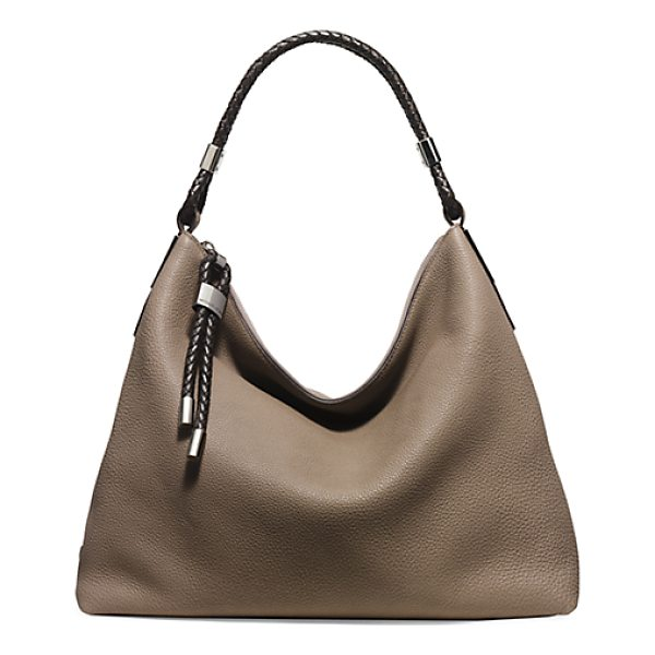 MICHAEL KORS COLLECTION Skorpios Pebbled-Leather Shoulder Bag - A Braided Shoulder Strap And Zip-Pull Ties Punctuate This...