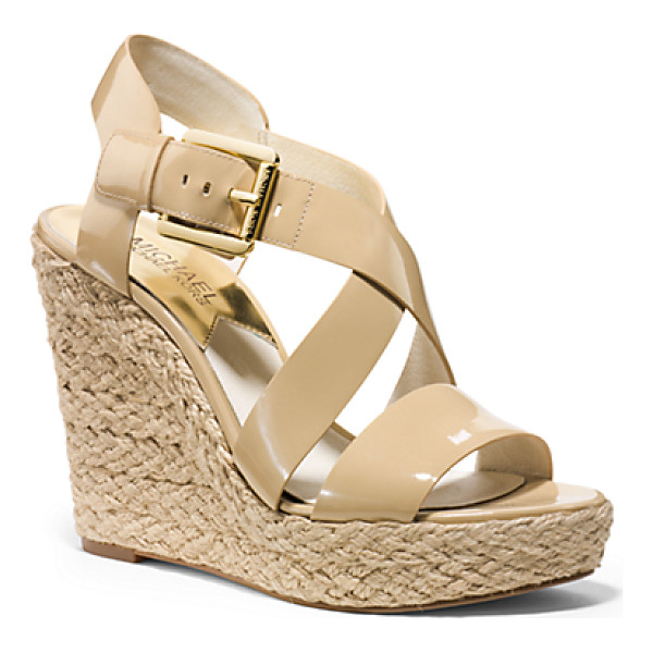 MICHAEL KORS Giovanna Patent-Leather Espadrille Wedge - Patent Perfection. We Love How This Modern Take On The...