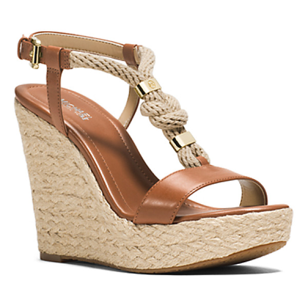 MICHAEL KORS Holly Rope-Trim Leather Wedge - Tie The Knot. Our Holly Sandals Are Your New Sole Mates....