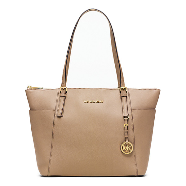 MICHAEL KORS Jet Set Large Top-Zip Saffiano Leather Tote - Jet Setters Take Note: This Sophisticated Multi-Tasking...