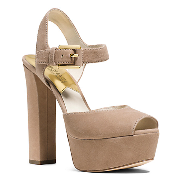 MICHAEL KORS London Suede Platform Peep-Toe Sandal - Bring Your Sartorial Style To New Heights With These...