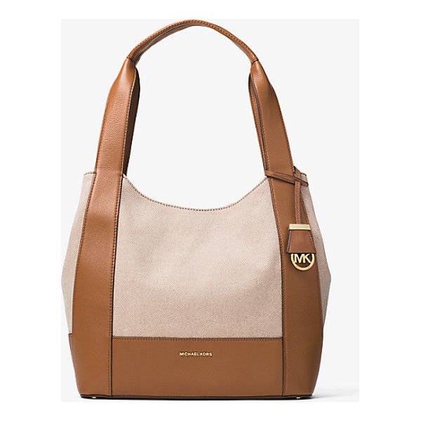MICHAEL KORS Marlon Large Canvas And Leather Shoulder Tote - With Smooth Leather Trim And A Clean-Lined Shape Our Marlon...