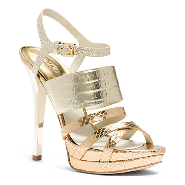 MICHAEL KORS Nadja Embossed-Leather Sandal - Luxurious Croc Snake And Lizard-Embossed Textures Plus A...