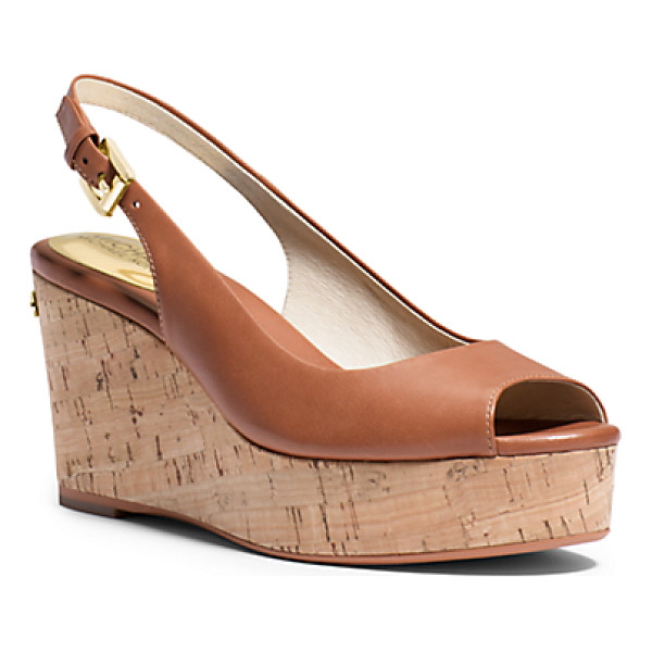 MICHAEL KORS Natalia Leather Peep-Toe Wedge - Crafted In Smooth Vachetta Leather With An Elegant...