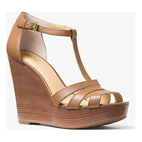 MICHAEL KORS Sable Leather Wedge - In Rich Italian Leather Our Sable Wedge Sandals Are A Luxe...