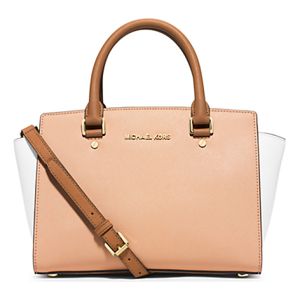 MICHAEL KORS Selma Medium Color-Block Leather Satchel - This Season Our Selma Satchel Gets Color-Block Cool. We...
