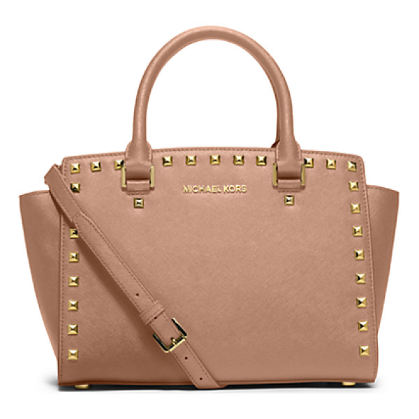MICHAEL KORS Selma Medium Studded Saffiano Leather Satchel - Our Selma Satchel Makes A Case For Elegant Embellishment....