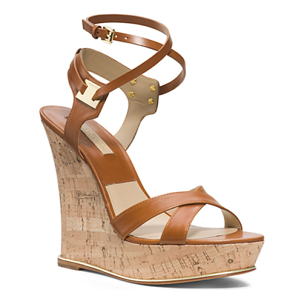 MICHAEL KORS Shana Leather And Cork Espadrille Wedge - I Think That When The Weather Turns Warmer We All Crave A...