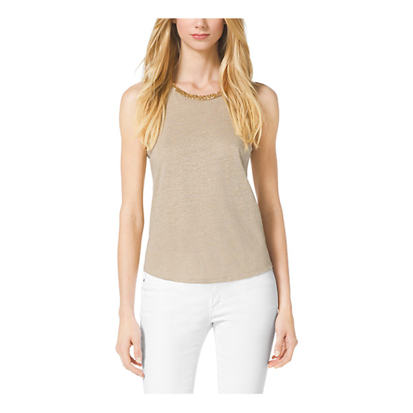 MICHAEL KORS Studded Linen-Blend Top - Gilded Studding At The Neckline Embellishes This Easy Top...