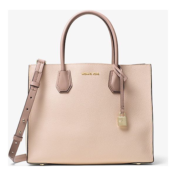 MICHAEL KORS STUDIO Mercer Large Color-Block Leather Tote - Crafted From Pebbled Leather Our Color-Blocked Mercer Tote...