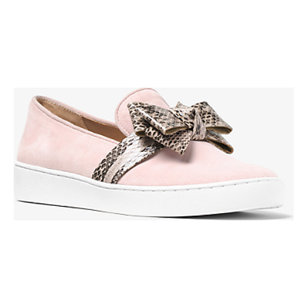 MICHAEL KORS COLLECTION Val Suede And Snakeskin Slip-On Sneaker - Designed In Suede With A Snakeskin Bow Michael Dresses Up...