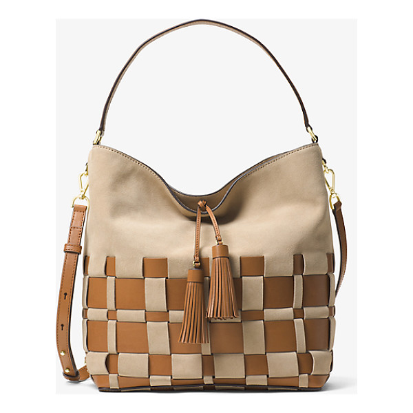 MICHAEL KORS Vivian Large Woven Suede And Leather Hobo - In A Two-Tone Woven Leather Design Our Vivian Hobo Boasts A...