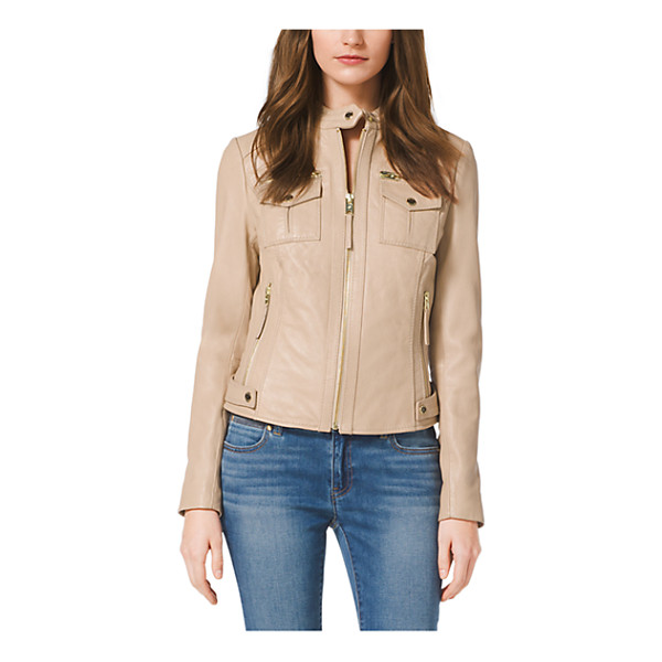 MICHAEL KORS Zip-Front Leather Jacket - Every Wardrobe Deserves A Luxe Leather Jacket. This...