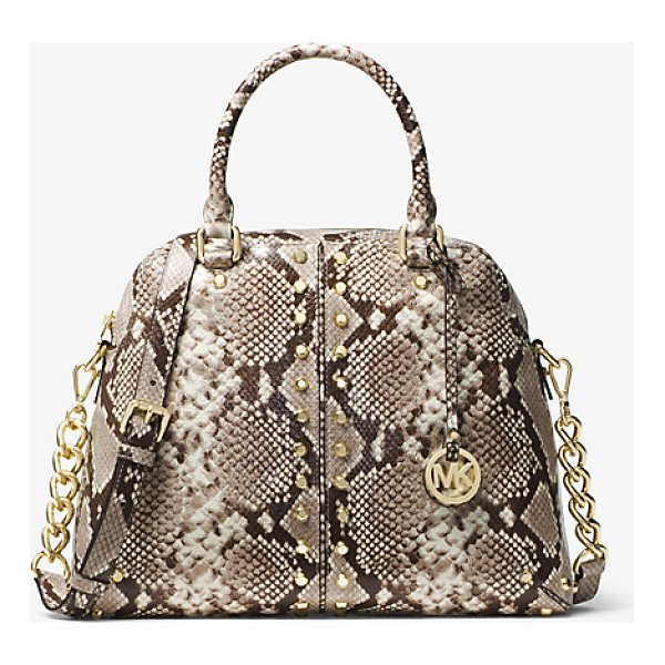 MICHAEL MICHAEL KORS Astor Studded Embossed-Leather Satchel - The Astor Satchel Is A High-Impact Statement Piece That...