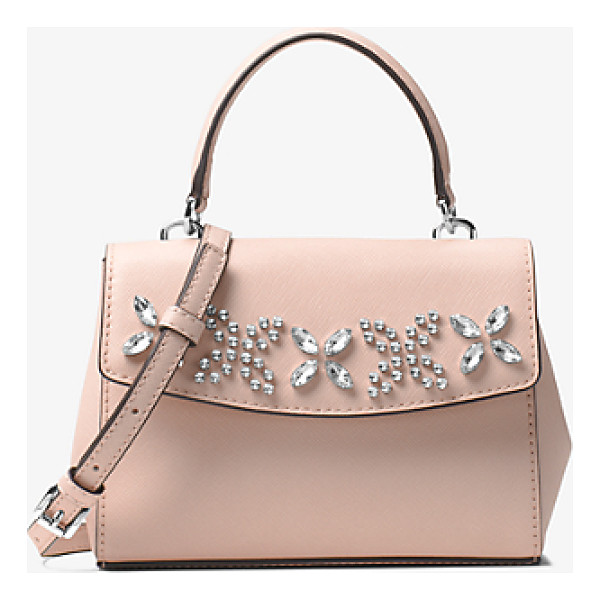MICHAEL MICHAEL KORS Ava Extra-Small Crystal-Embellished Leather Crossbody - This Decidedly Ladylike Crossbody Showcases Crystal Floral