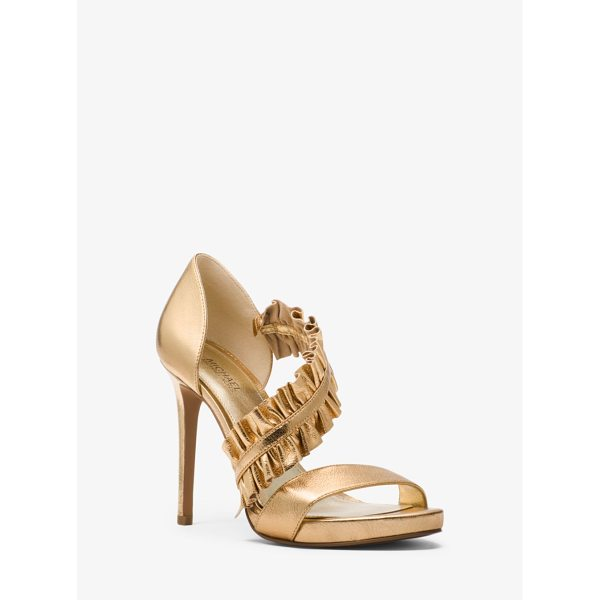 MICHAEL MICHAEL KORS Bella Ruffled Metallic Leather Sandal - Update Any Evening Look With Our Glamorous Bella Sandals....