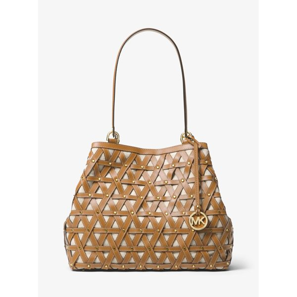 MICHAEL MICHAEL KORS Brooklyn Large Leather And Canvas Tote - The Brooklyn Tote Boasts Artisanal Appeal In An Expansive...