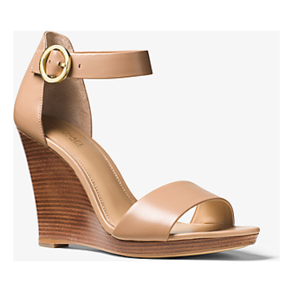 MICHAEL MICHAEL KORS Lena Leather Wedge - Fit With An Adjustable Ankle Strap And Stacked Heel Our...