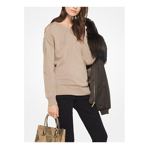 MICHAEL MICHAEL KORS Metallic Cotton-Blend Pullover - A Metallic Knit And Button Sleeves Combine To Tactile...