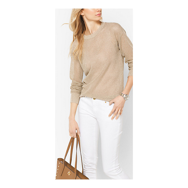 MICHAEL MICHAEL KORS Metallic Viscose-Mesh Sweater - Sheer With A Hint Of Shimmer This Lightweight Crewneck...