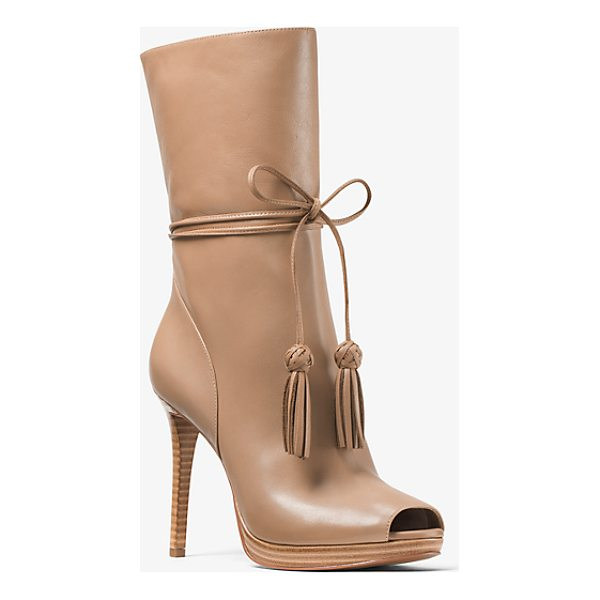 MICHAEL MICHAEL KORS Rosalie Leather Open-Toe Mid-Calf Boot - Set On A Slim Stiletto Heel Our Rosalie Mid-Calf Boots Are...