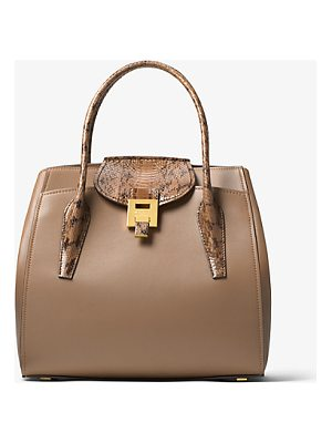 Michael Kors Collection Bancroft Large Calf Leather And Snakeskin Satchel
