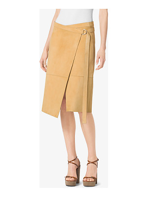 Michael Kors Collection Belted Wrap Suede Skirt