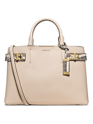 Michael Kors Collection Bette Large Leather And Python Satchel