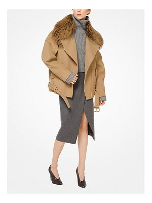 Michael Kors Collection Bonded Wool Jacket With Fox Collar