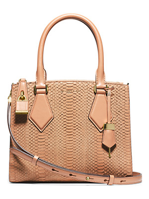 Michael Kors Collection Casey Small Sueded Snakeskin Satchel