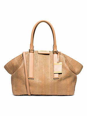 Michael Kors Collection Lexi Large Sueded Snakeskin Satchel