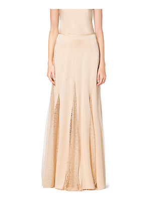 Michael Kors Collection Satin Charmeuse And Chantilly Lace Maxi Skirt