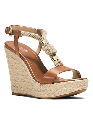 MICHAEL KORS Holly Rope-Trim Leather Wedge
