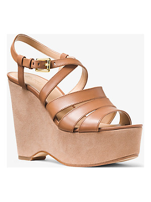 Michael Kors Mariana Leather And Suede Wedge