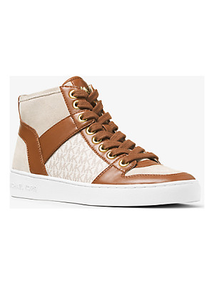 Michael Kors Matty Logo Leather And Suede High-Top Sneaker